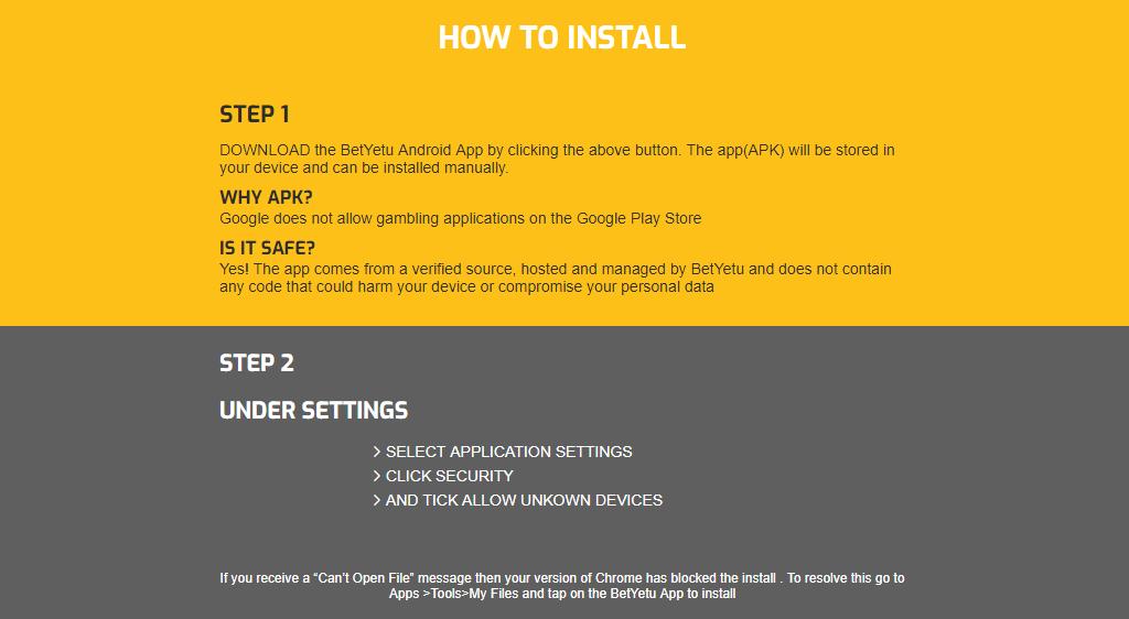 Install Betyetu app