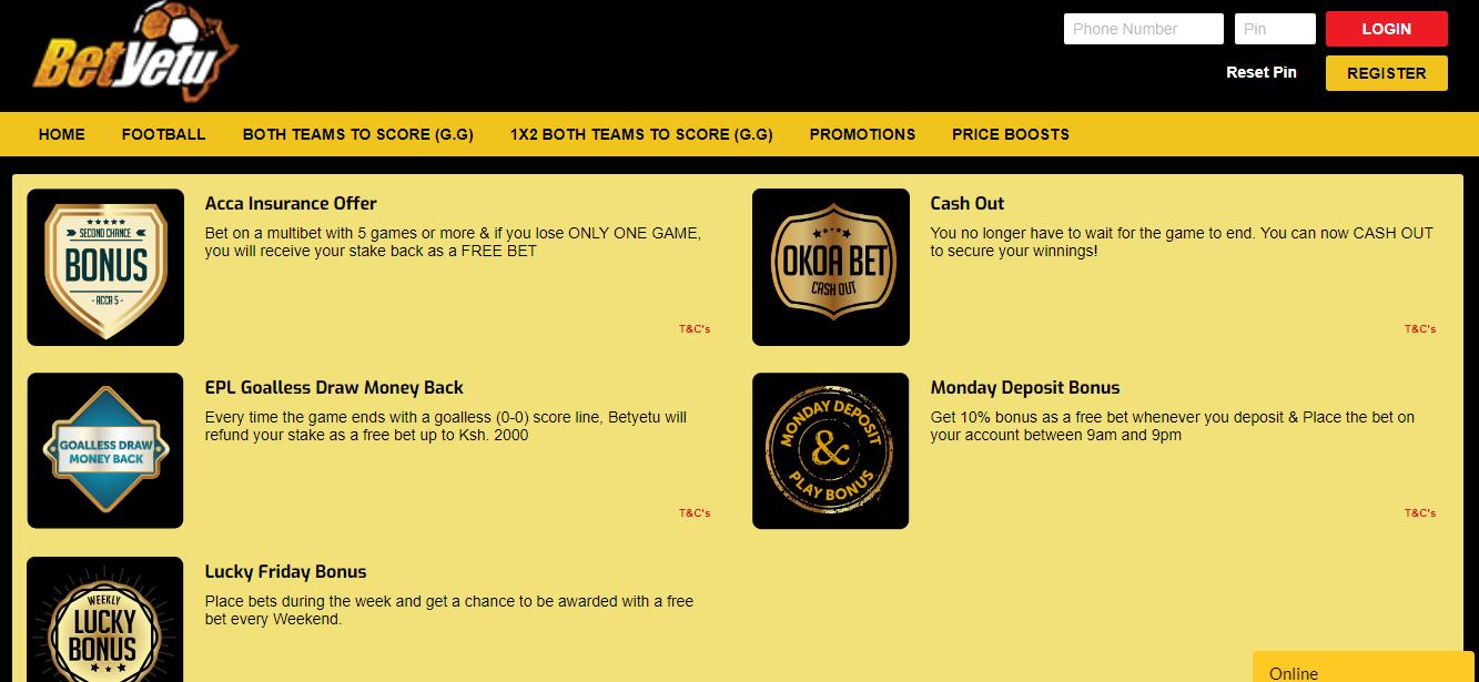 Betyetu bonuses online - bookmaker.co.ke