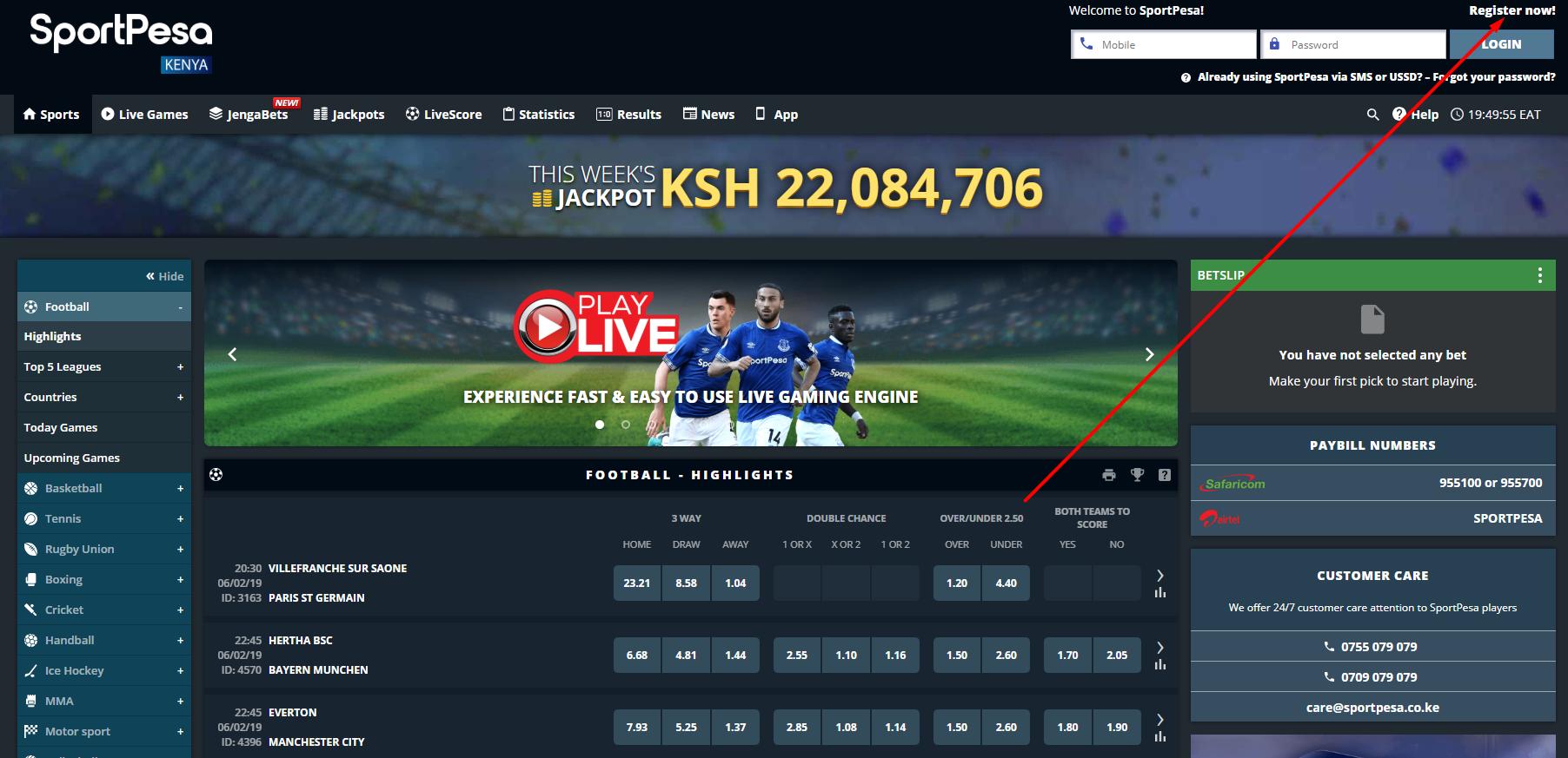 Sportpesa Kenya registration