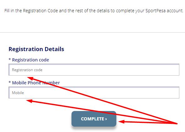 Sportpesa registration at Website