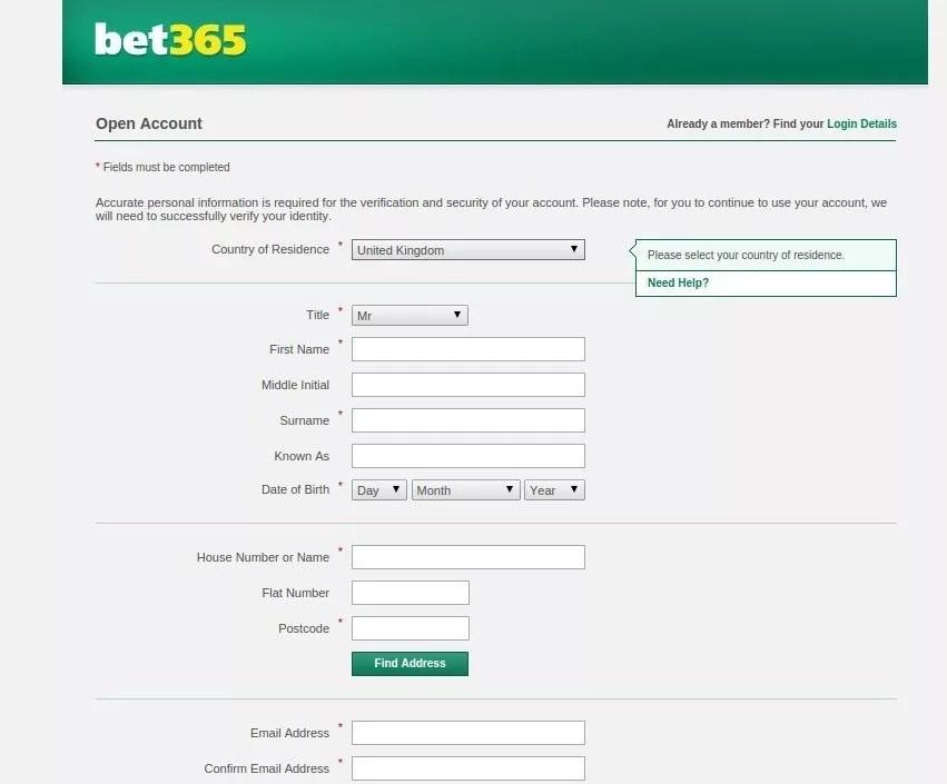Bet365 registration - bookmaker.co.ke