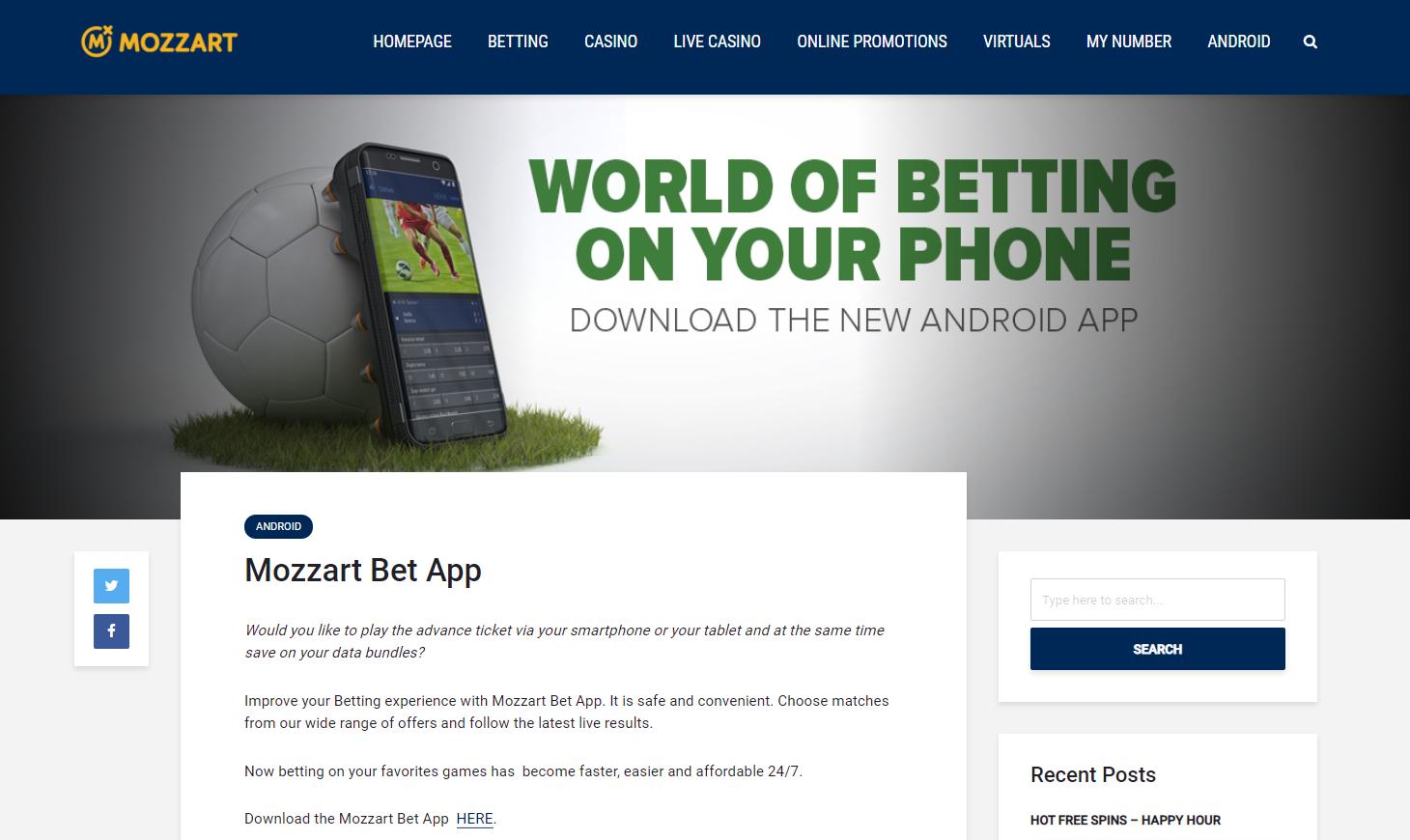 Mozzart bet's range of entertainment in mobile app